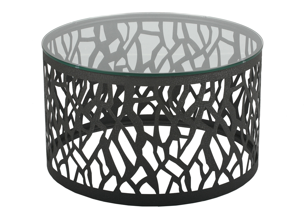 Side or coffee table with jet black glass top and black patterned stainless steel base. 76Diam x 45cmH.