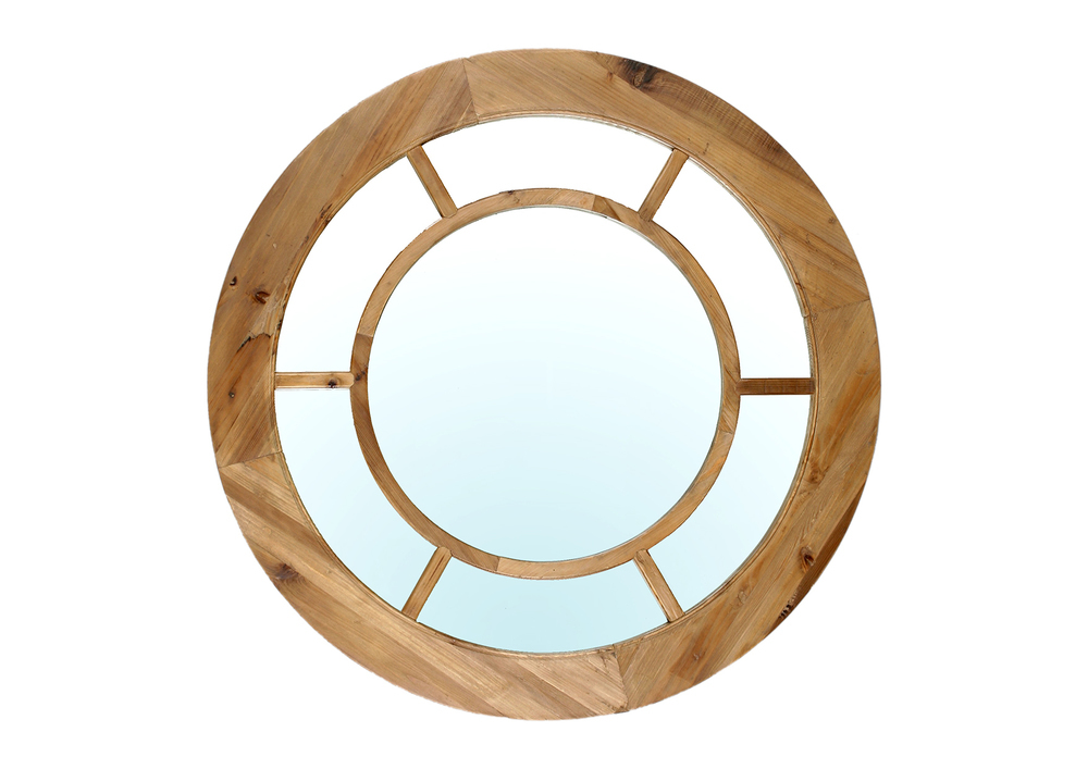 Elm looking glass wall mirror. 100cm diam.